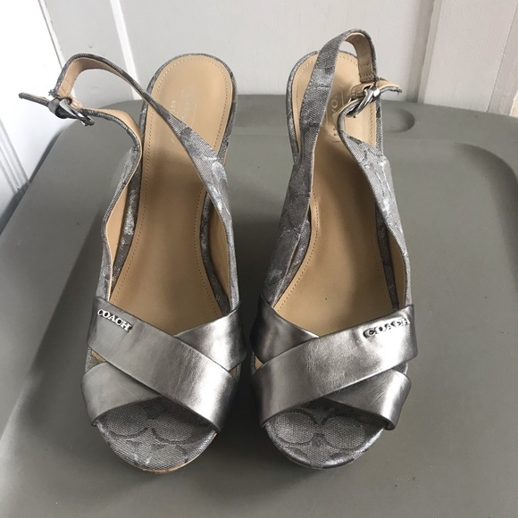 Coach Shoes - Coach Wedge Sling Back Sandals-Silver size 10